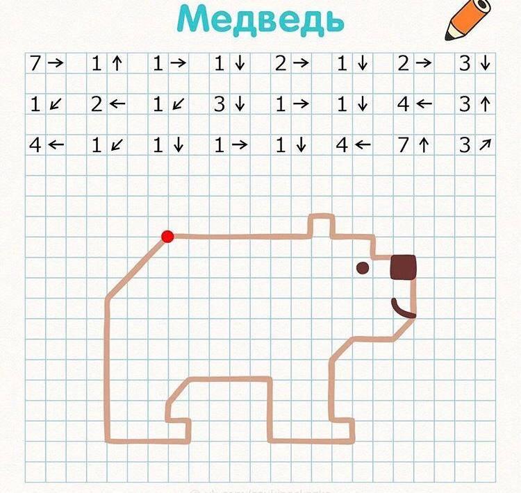Графические диктанты по клеточкам для детей 6-7 лет - 1-2 класса