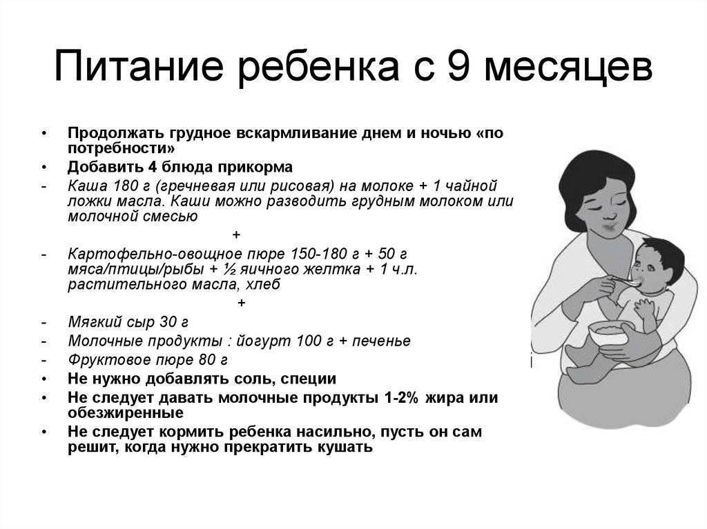 Рацион грудного ребенка в 8 месяцев: меню и таблица прикорма
