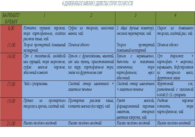 Питание при диарее и рвоте. полезные рецепты