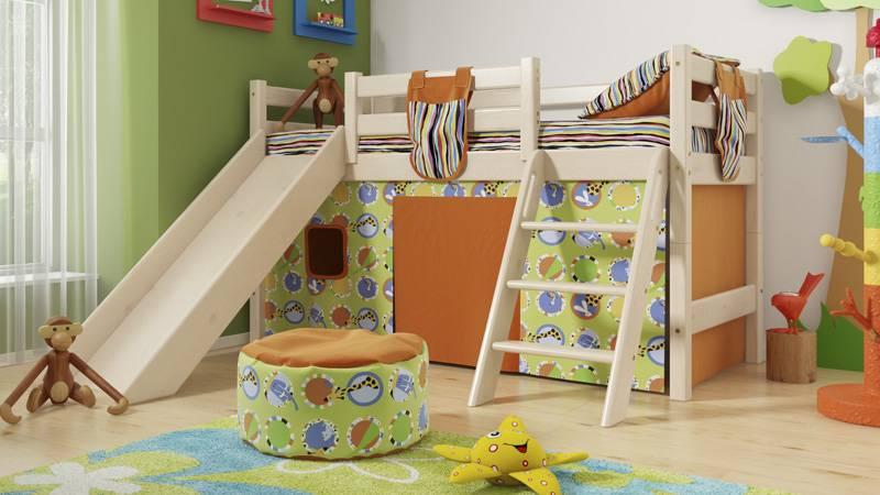 Кровать с горкой - 125 фото идей организации и оформления игровой зоны