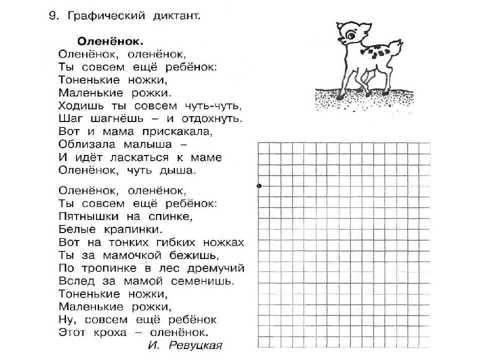 Графический диктант по клеточкам для 3-4 класса