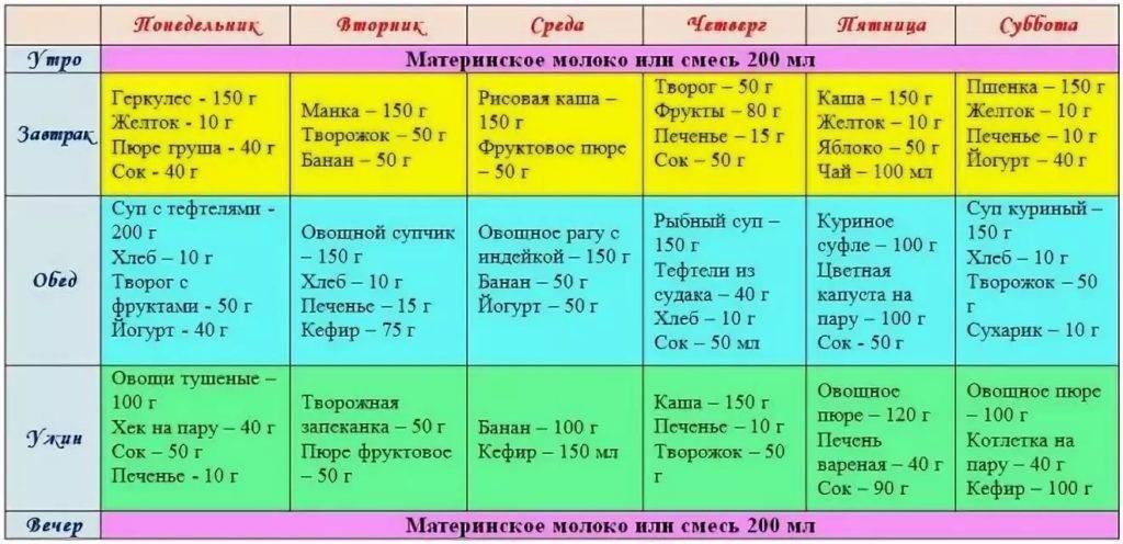 Особенности кормления ребенка в 9 месяцев при грудном и искусственном вскармливании: таблица примерного меню на неделю