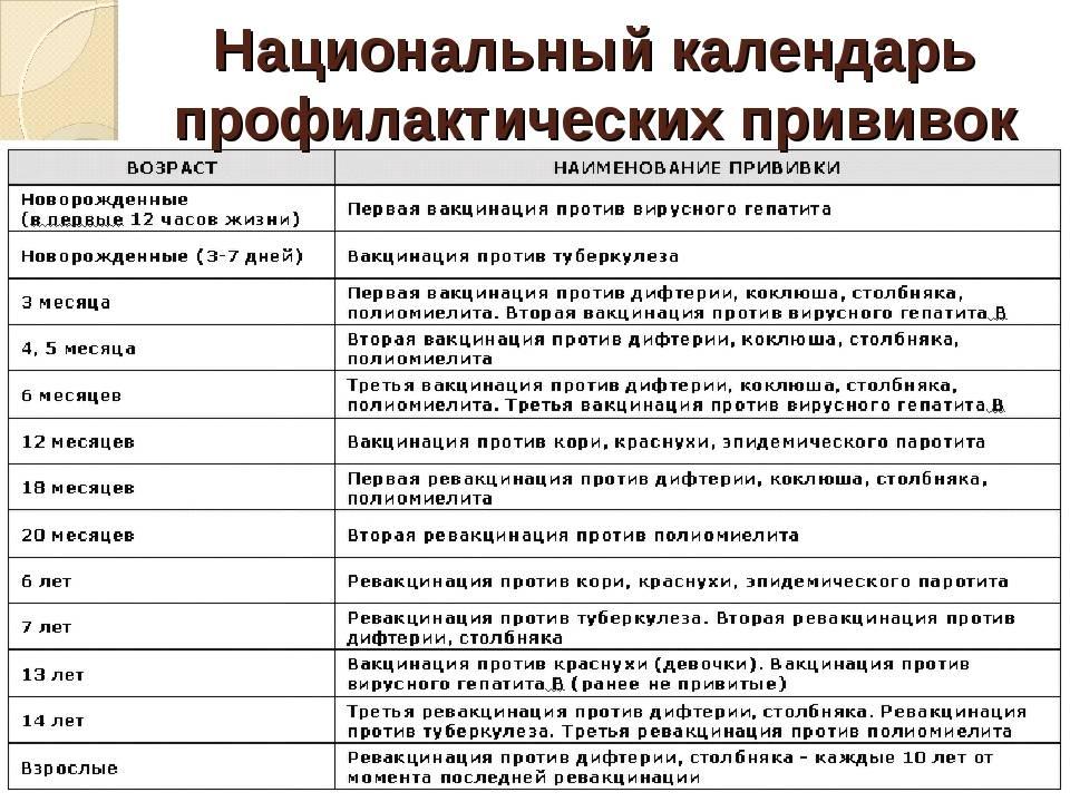 Календарь профилактических прививок