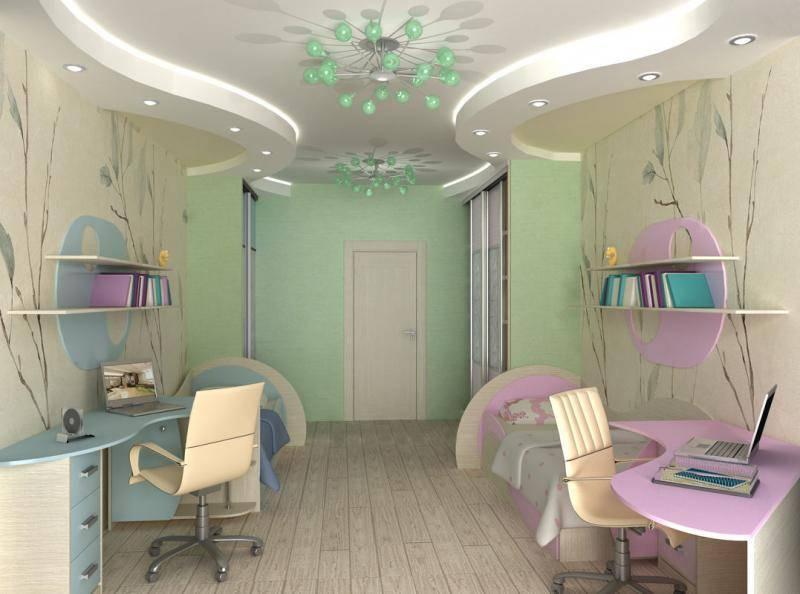 Потолок для детской комнаты девочки