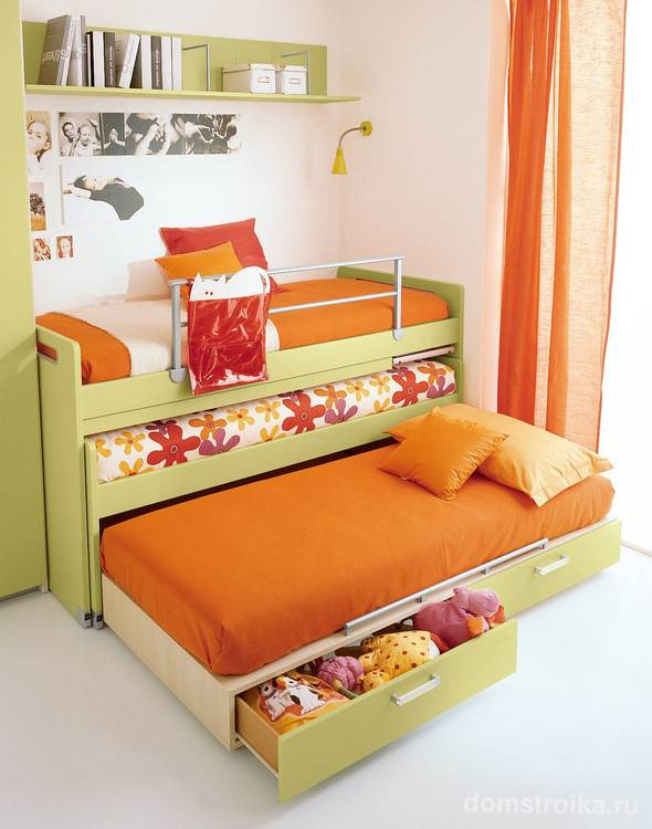 Выдвижная кровать для двоих детей