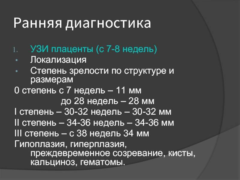 Степени зрелости плаценты — 0, 1, 2, 3; степени зрелости
