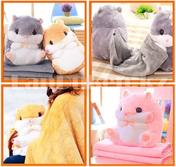 Пледы-игрушки: пледы-подушки в виде хомяка и другие, мягкие детские трансформеры 3 в 1, материалы и популярный персонажи