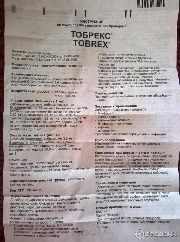 Инструкция по применению глазных капель для новорожденных Торбекс
