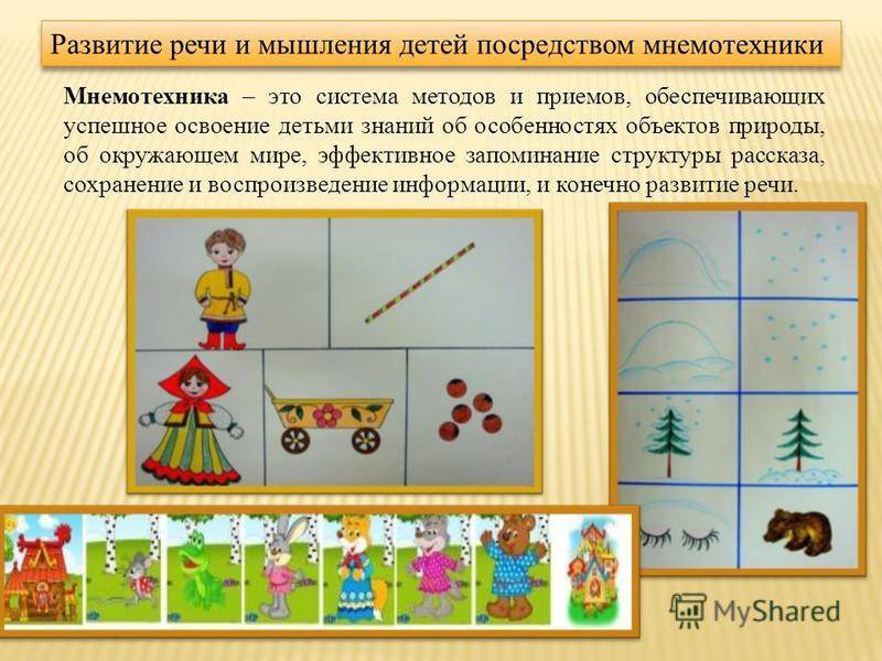 «использование приёмов мнемотехники, картинок, игровых компонентов в развитии связной речи детей дошкольного возраста» (доклад из опыта работы).