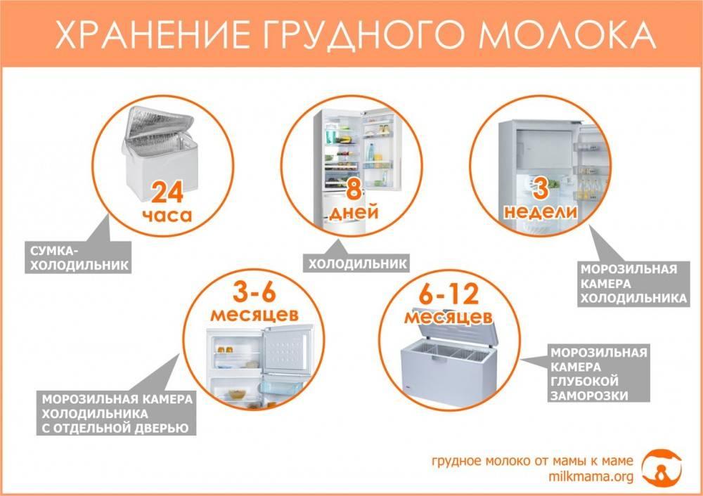 Сколько хранится грудное молоко в холодильнике и при комнатной температуре после сцеживания - срок годности, как разогреть замороженное молоко