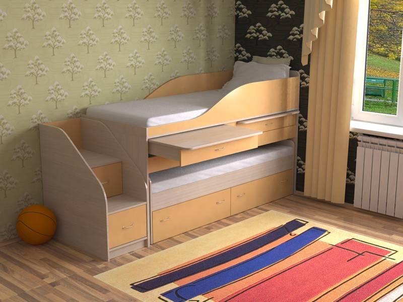 Варианты конструкции выдвижной кровати для двоих детей, порядок сборки
