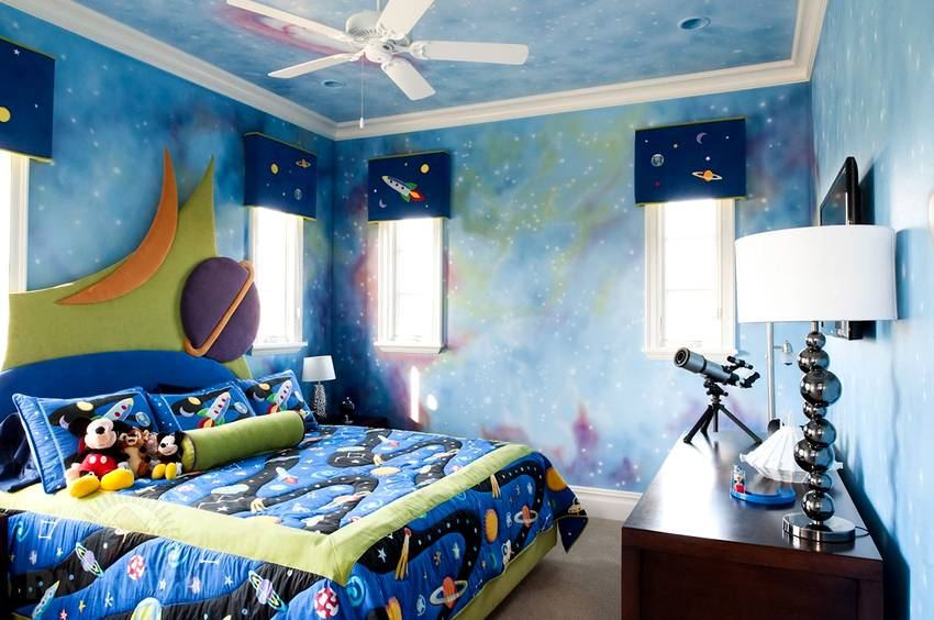 Обои в детскую комнату для мальчиков: 69 современных идей, фото в интерьере
