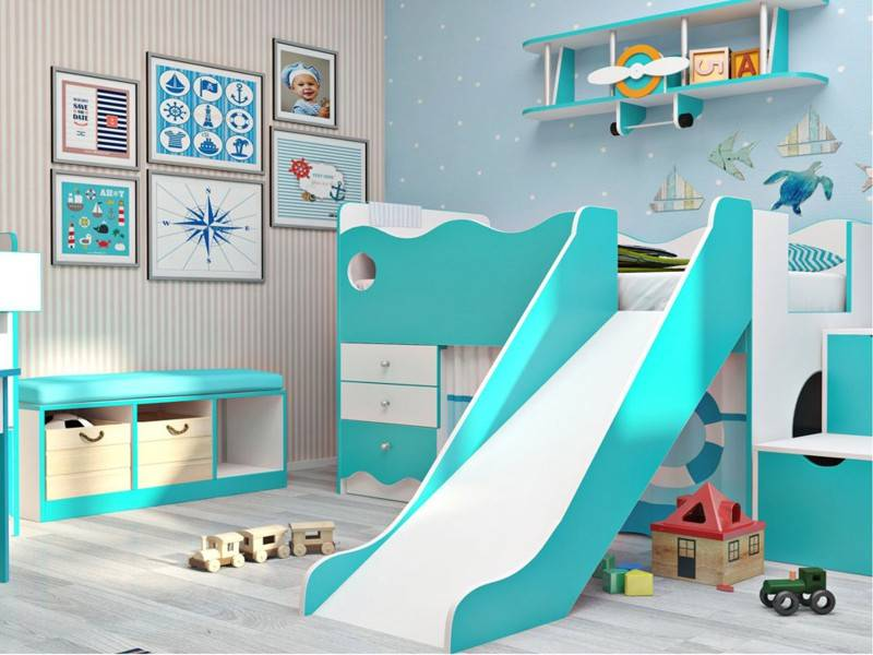 Детская кровать с горкой: двухъярусная модель кровати-чердака и двухэтажной с лестницей