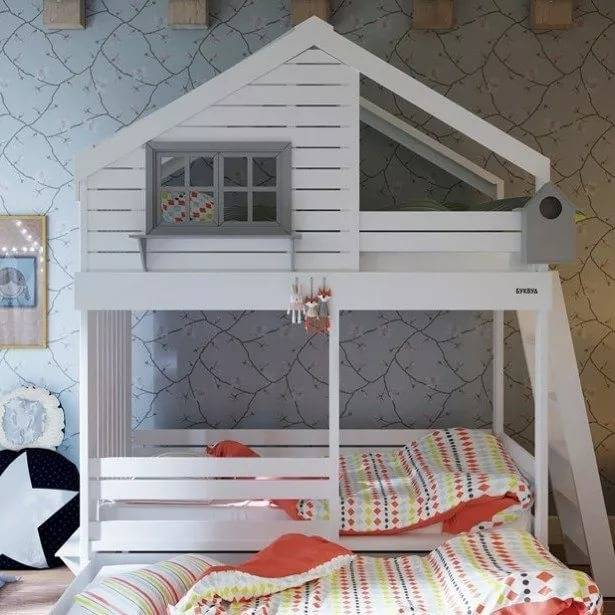 Детская кровать-домик (60 фото): модели-чердаки в виде дома для детей от 2 лет из массива с горкой, с домом внизу или наверху — remont-om