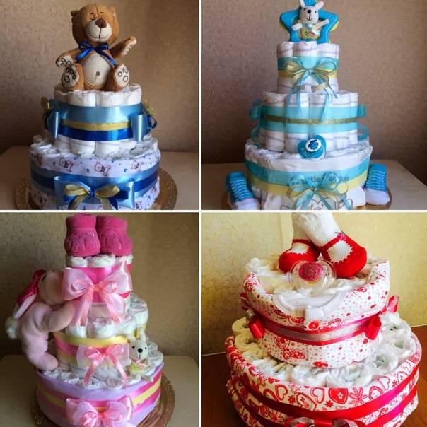 Как сделать торт из подгузников для девочки?