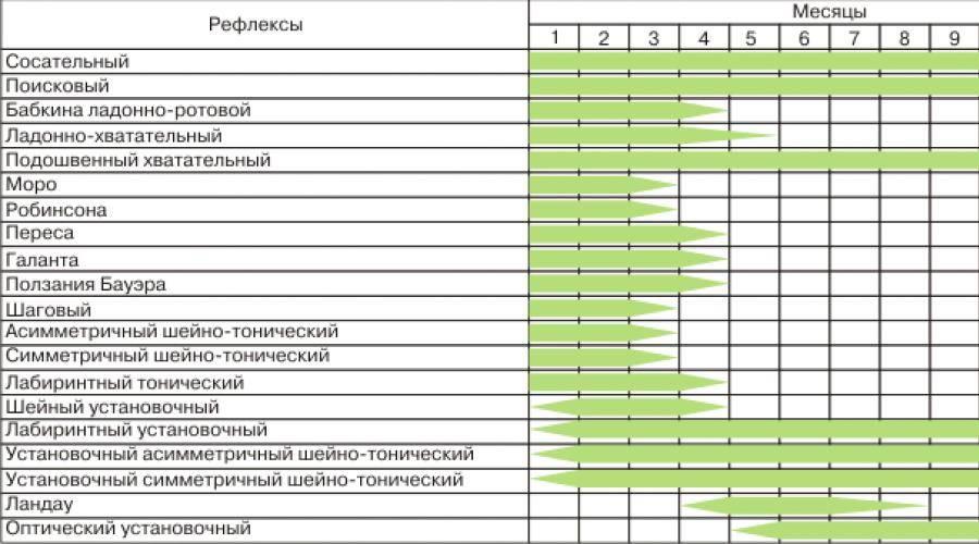 Рефлексы бабинского, галанта, бабкина и моро у новорожденного и таблица по месяцам