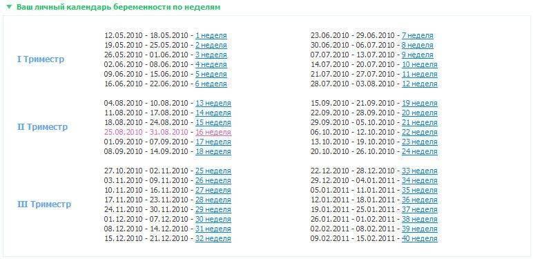 Рассчитать срок беременности онлайн на странадетства.ру