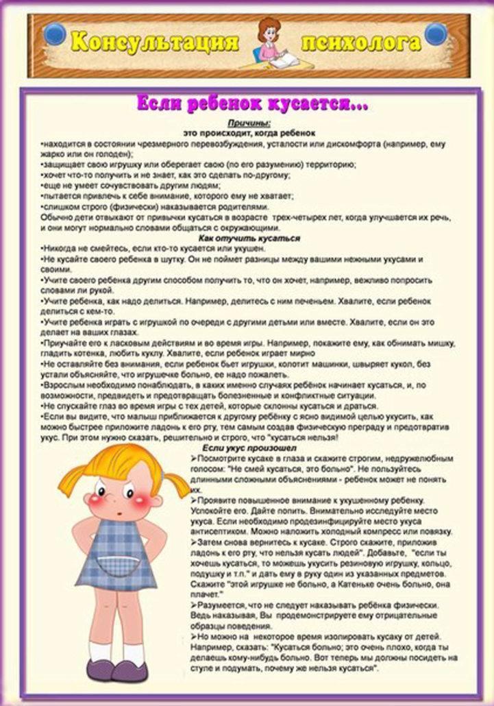 Ребёнок кусается в детском саду: советы психолога