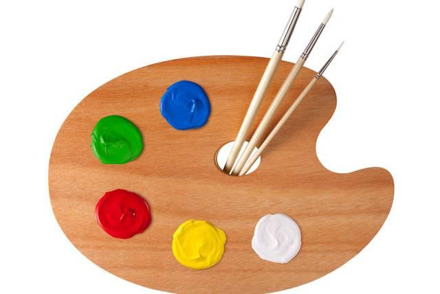 Смешивание акриловых красок - работа с таблицей и палитрой
